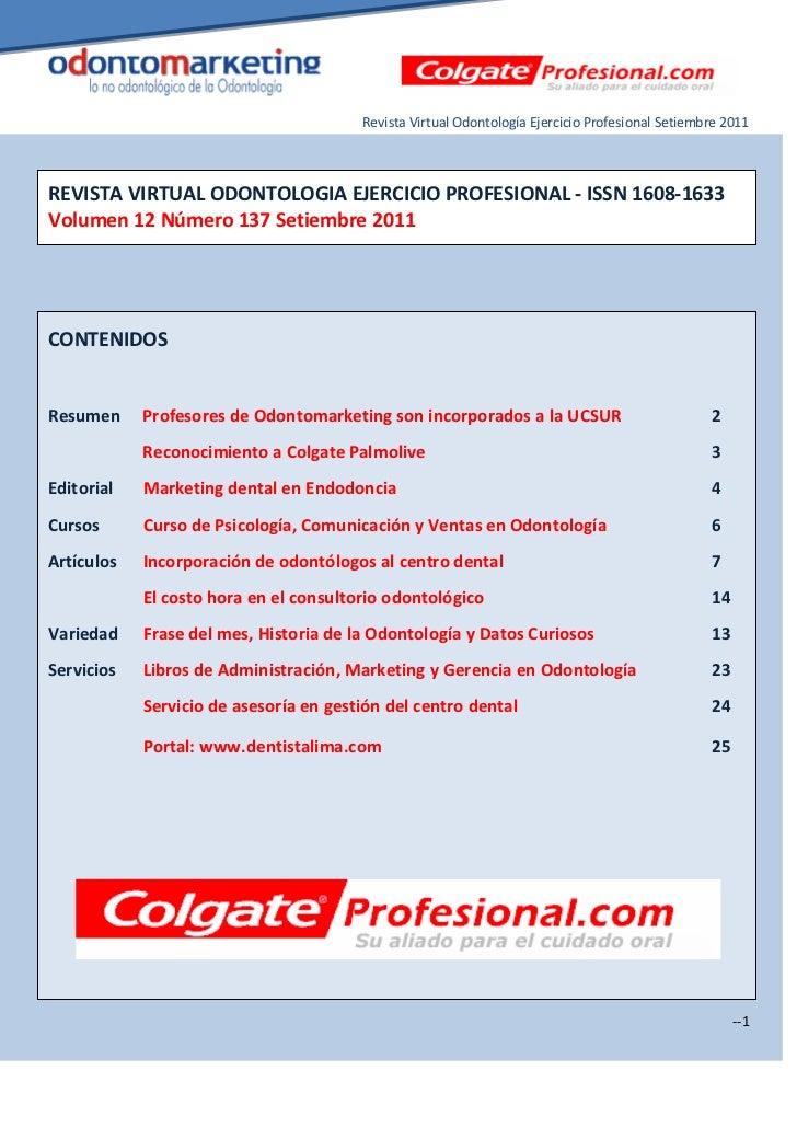 Revista Virtual Odontología Ejercicio Profesional Setiembre 2011REVISTA VIRTUAL ODONTOLOGIA EJERCICIO PROFESIONAL - ISSN 1...