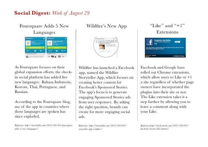 Social Digest: Week of August 29    Foursquare Adds 5 New                                     Wildfire's New App           ...