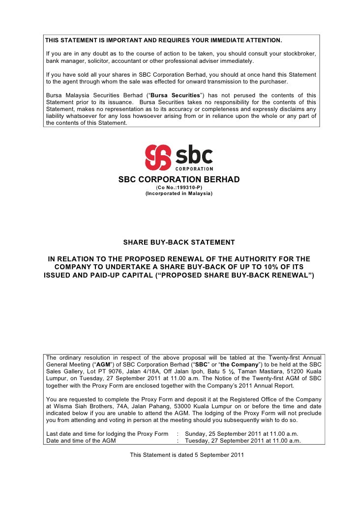 Bursa Announcement - Share Buy-Back Statement