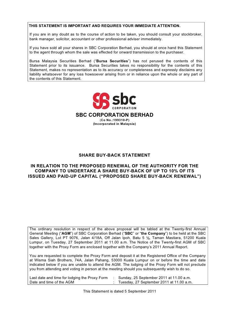 Bursa Announcement - Share Buy-Back Statement