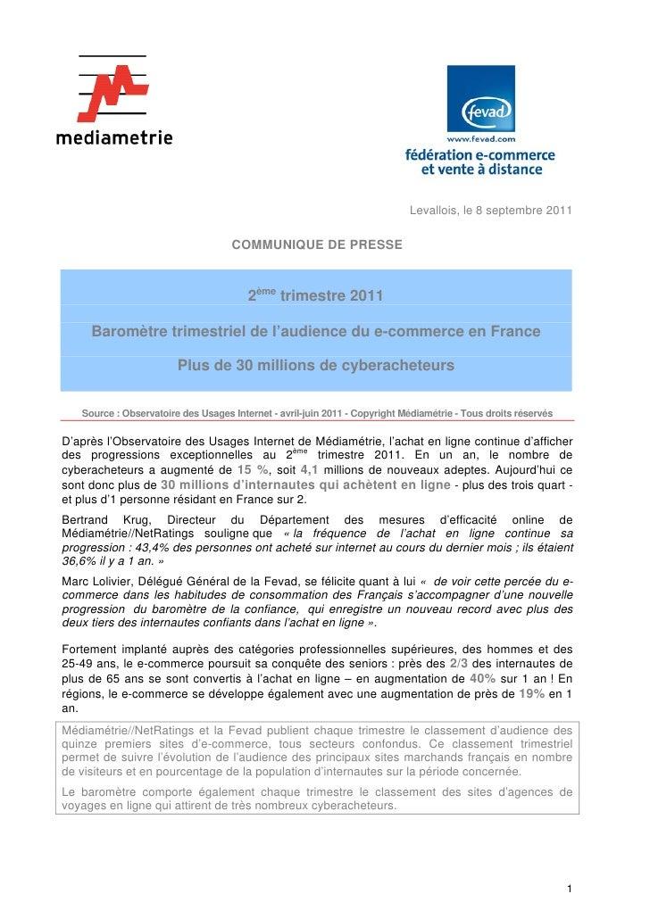 Baromètre trimestriel de l'audience du e-commerce en France - FEVAD/MEDIAMETRIE