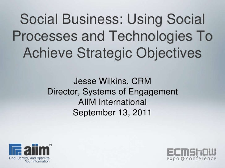 Social Business: Using Social Processes and Technologies To Achieve Strategic Objectives<br />Jesse Wilkins, CRM<br />Dire...