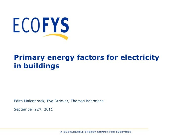 Webinar - Primary energy factors for electricity in buildings