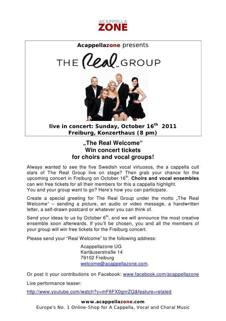 Acappellazone presents         live in concert: Sunday, October 16th 2011                 Freiburg, Konzerthaus (8 pm)    ...