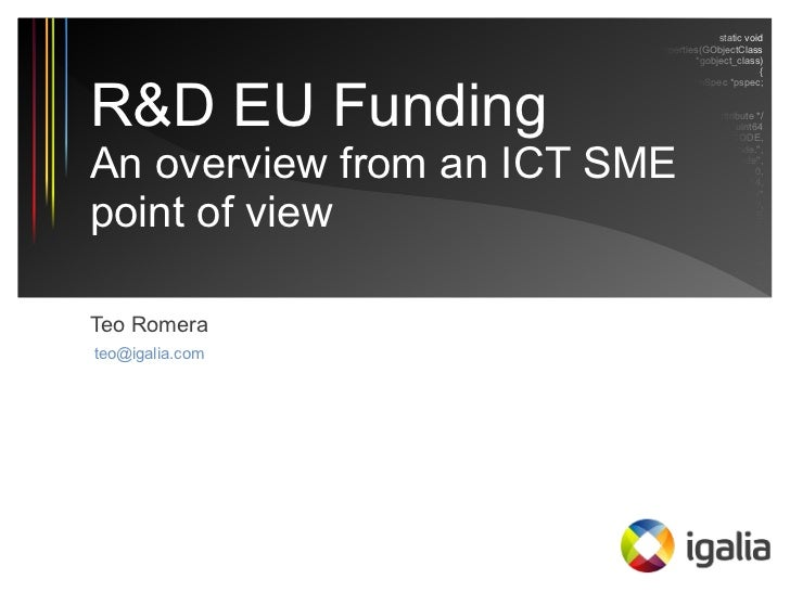 EU Funding for R&D in SMEs