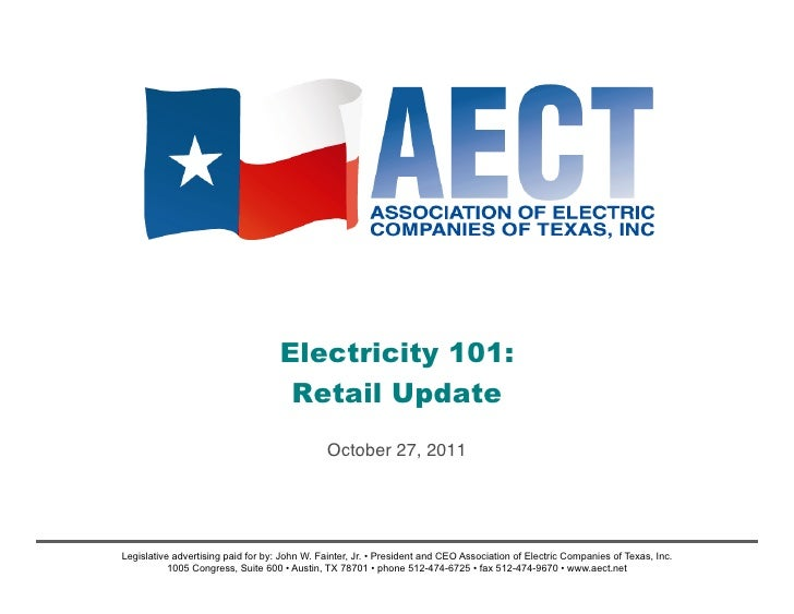 Electricity 101:                                     Retail Update                                                October ...