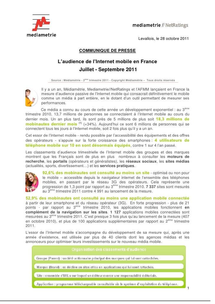 Levallois, le 28 octobre 2011                                   COMMUNIQUE DE PRESSE                   L'audience de l'Int...