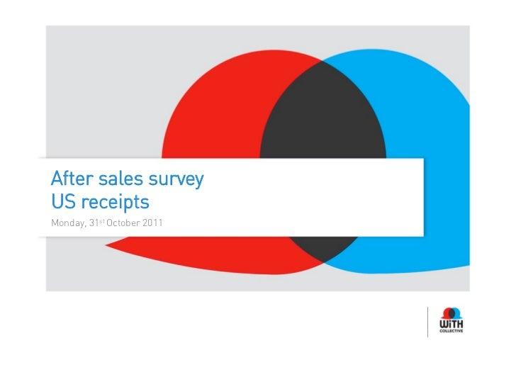 After sales surveyUS receiptsMonday, 31st October 2011