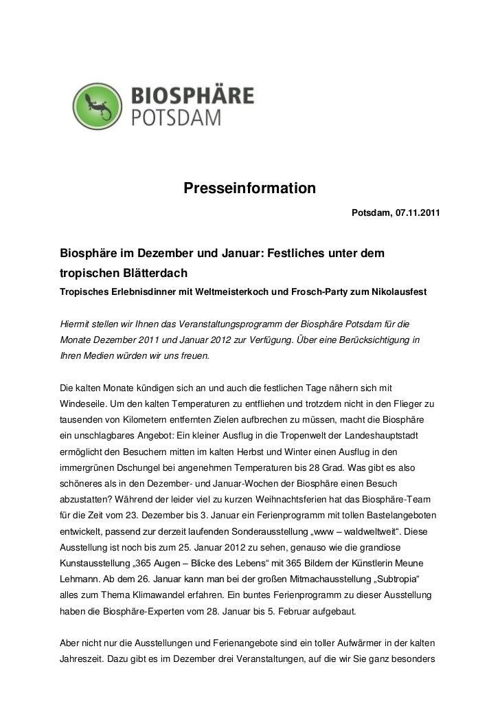 Presseinformation                                                                      Potsdam, 07.11.2011Biosphäre im Dez...