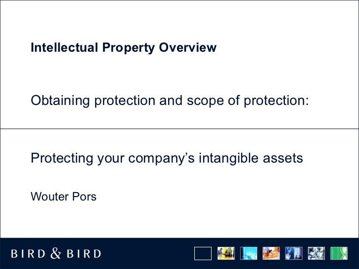 Intellectual Property OverviewObtaining protection and scope of protection:Protecting your company's intangible assetsWout...