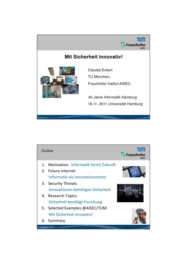 26.05.2012                 Mit Sicherheit innovativ!                           Claudia Eckert                           TU...