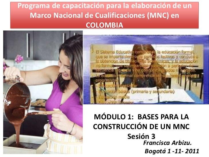 Programa de capacitación para la elaboración de un   Marco Nacional de Cualificaciones (MNC) en                   COLOMBIA...