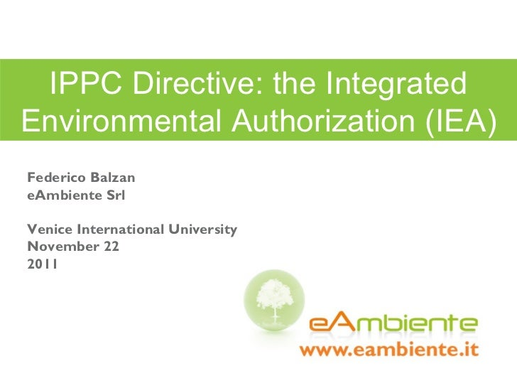 IPPC Directive: the Integrated Environmental Authorization (IEA)