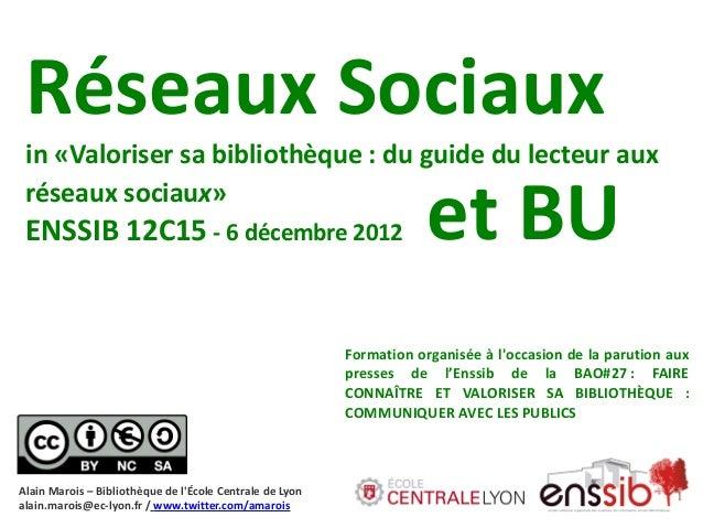 Réseaux Sociaux in «Valoriser sa bibliothèque: du guide du lecteur aux           et BU réseaux sociaux» ENSSIB 12C15 - 6 ...