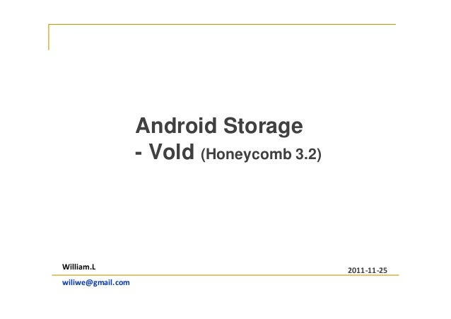 Android Storage - Vold (Honeycomb 3.2) William.L wiliwe@gmail.com 2011-11-25