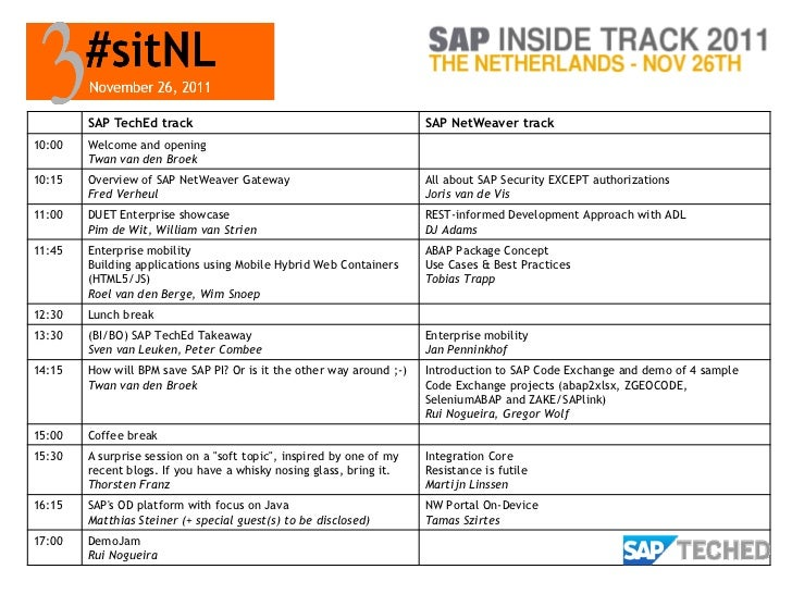 SAP TechEd track                                              SAP NetWeaver track10:00   Welcome and opening        Twan v...