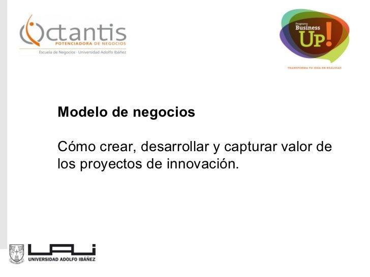 Modelo de negocios Cómo crear, desarrollar y capturar valor de los proyectos de innovación.