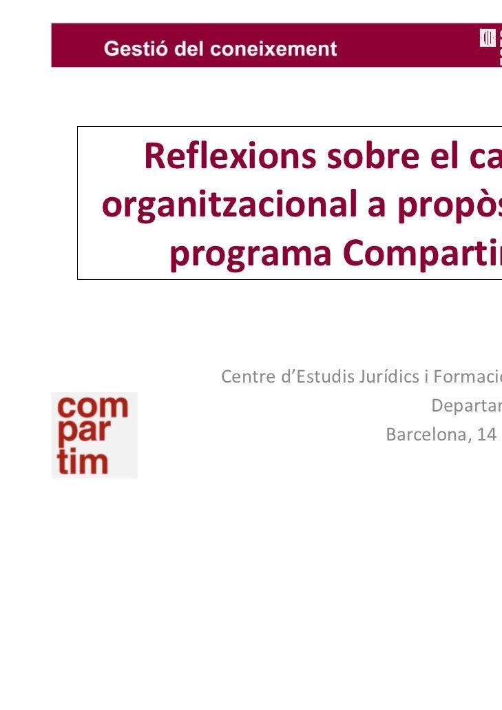 Reflexionssobreelcanviorganitzacionalapropòsitdel    programaCompartim       Centred'EstudisJurídicsiFormació...