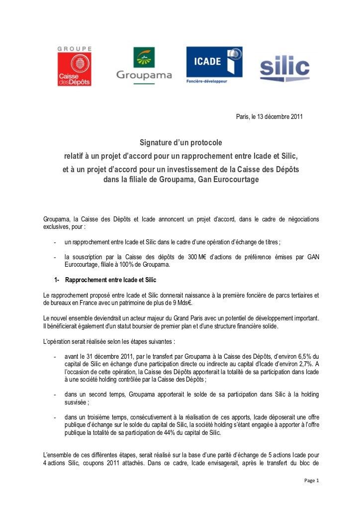 Paris, le 13 d€cembre 2011                                         Signature d'un protocole        relatif • un projet d'a...
