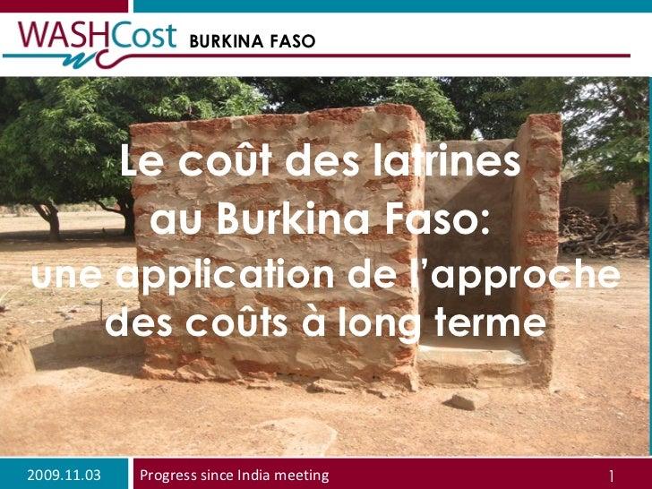 Le coût des latrines  au Burkina Faso:  une application de l'approche des coûts à long terme