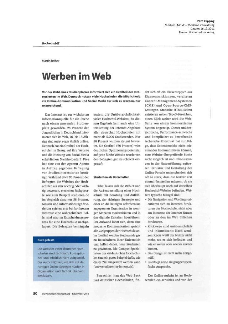 Print ClippingMedium: MOVE – Moderne Verwaltung                 Datum: 16.12.2011         Thema: Hochschulmarketing