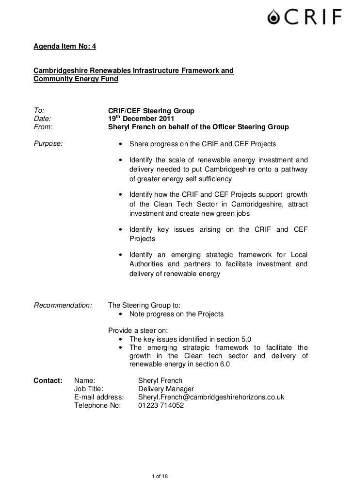 Agenda Item No: 4Cambridgeshire Renewables Infrastructure Framework andCommunity Energy FundTo:                  CRIF/CEF ...