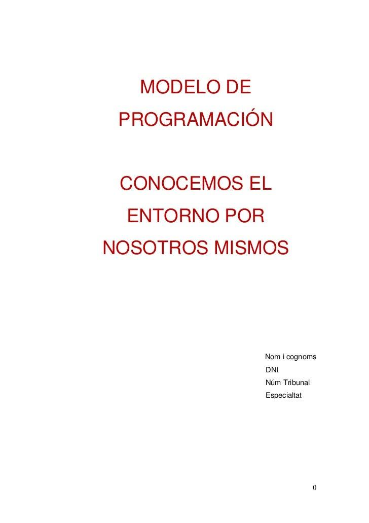 MODELO DE PROGRAMACIÓN CONOCEMOS EL ENTORNO PORNOSOTROS MISMOS               Nom i cognoms               DNI              ...