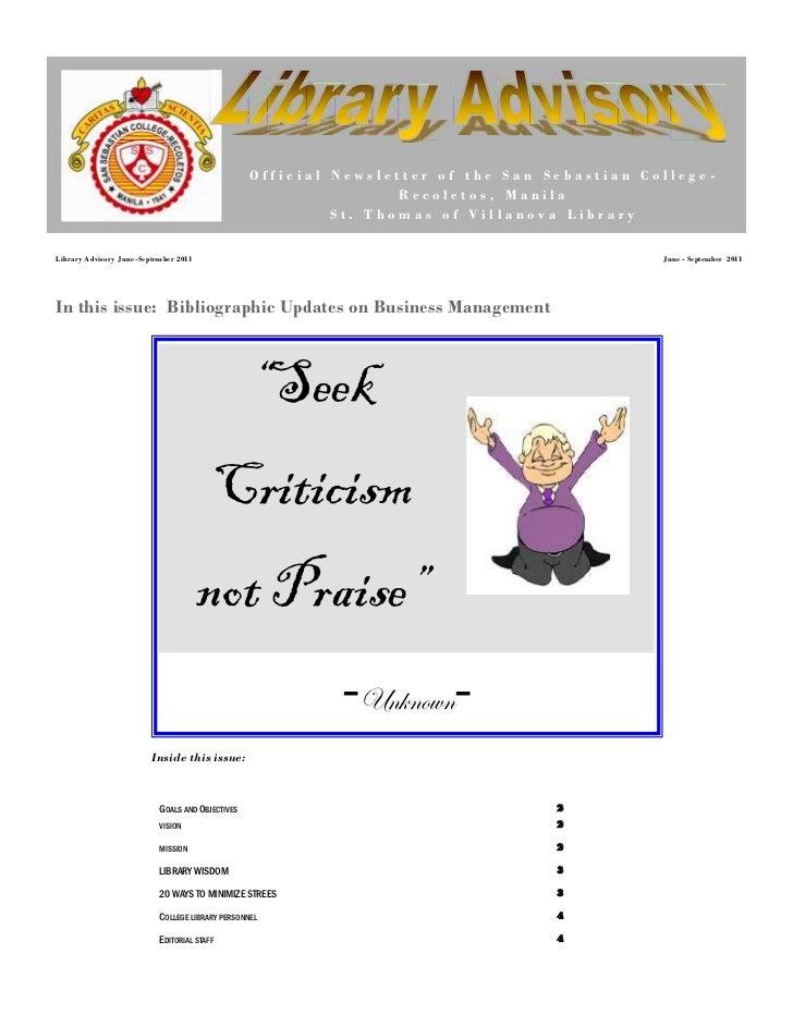 Official Newsletter of the San Sebastian College-                                                                  Recolet...