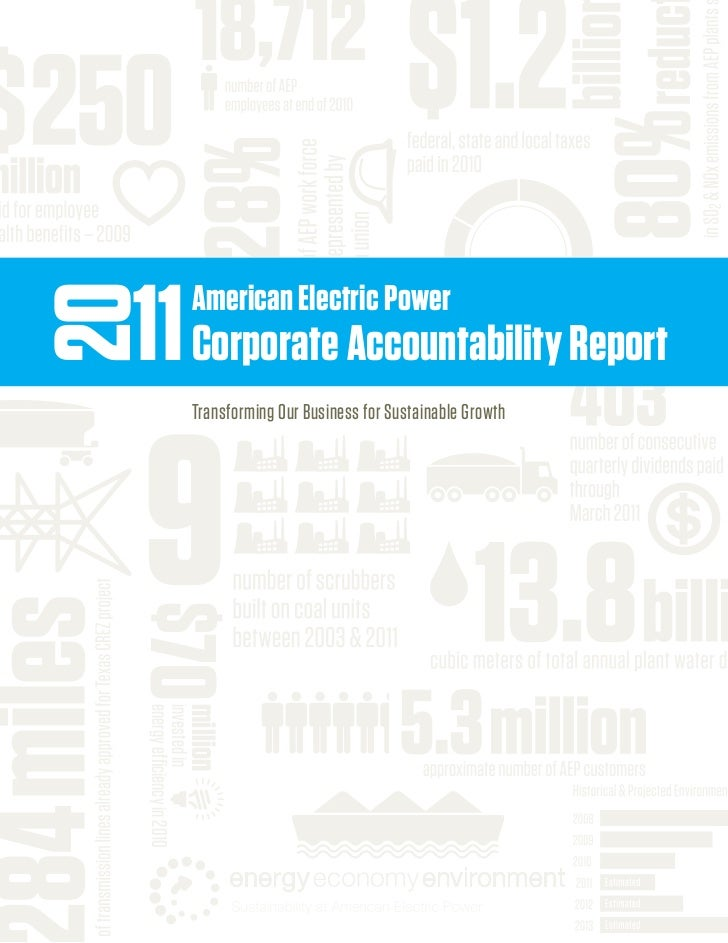 11	Corporate	Accountability	Report                            American	Electric	Power	20    9	                           T...