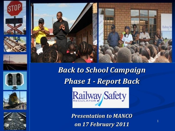 Back to School Campaign Phase 1 - Report Back   Presentation to MANCO                           1    on 17 February 2011