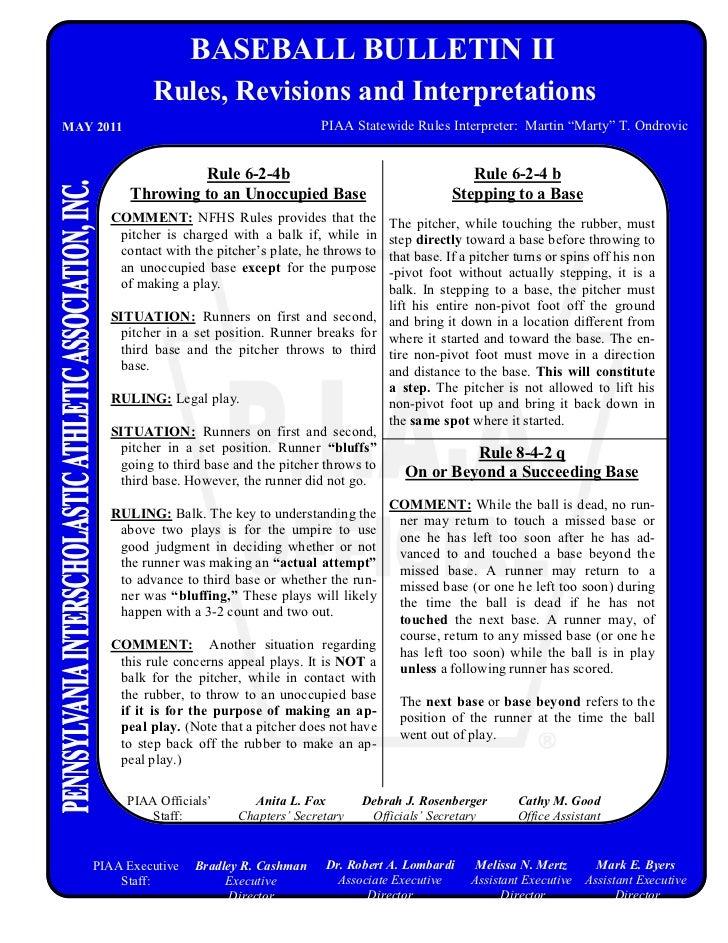 BASEBALL BULLETIN II               Rules, Revisions and InterpretationsMAY 2011                                    PIAA St...