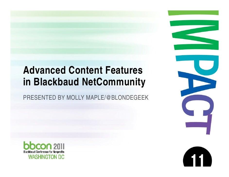 Advanced Content Features in Blackbaud NetCommunity