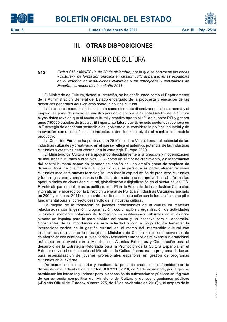 Becas «Culturex» de formación práctica en gestión cultural para jóvenes españoles en el exterior
