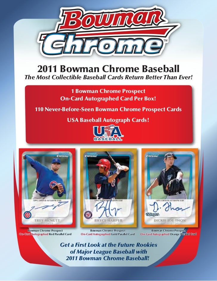 2011 Bowman Chrome Baseball   The Most Collectible Baseball Cards Return Better Than Ever!                                ...