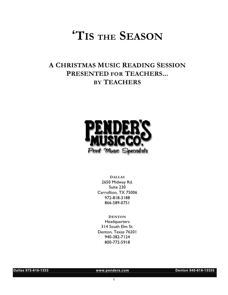 'TIS THE SEASON                      A CHRISTMAS MUSIC READING SESSION                          PRESENTED FOR TEACHERS... ...