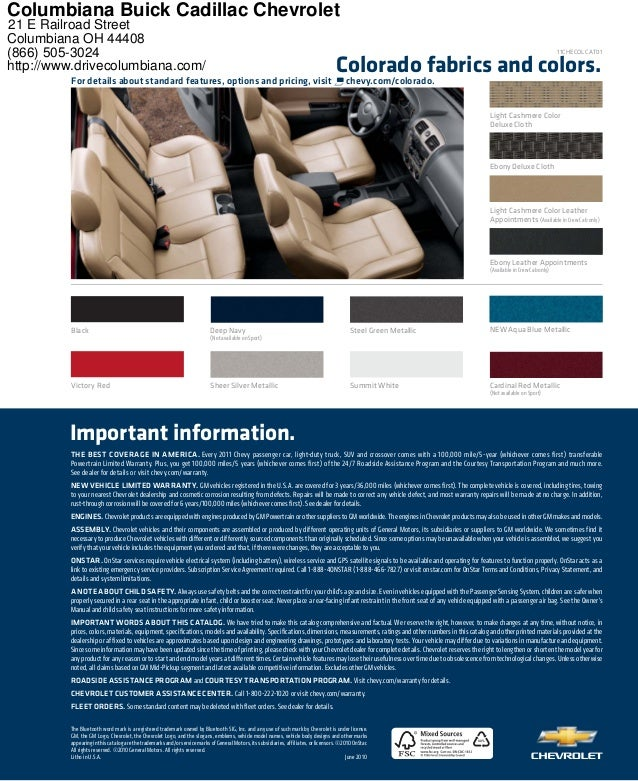 XX% Colorado fabrics and colors. For details about standard features, options and pricing, visit chevy.com/colorado. Victo...