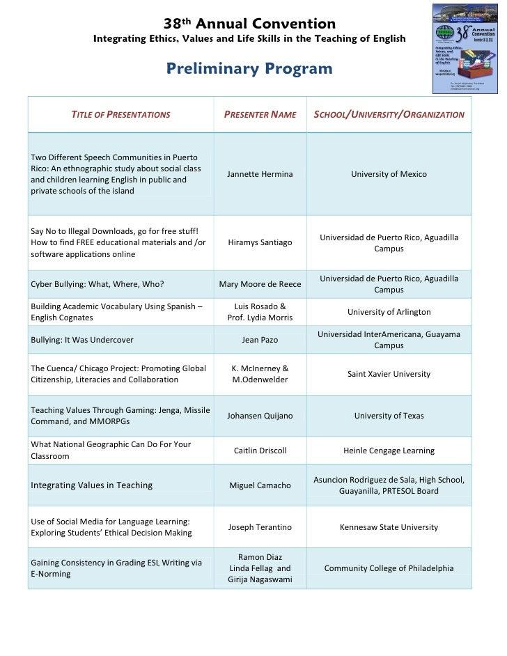 2011 PRTESOL Convention Preliminary Program