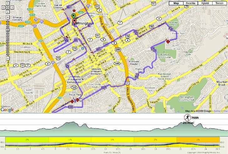 2011 Mercedes Marathon course map and elevation