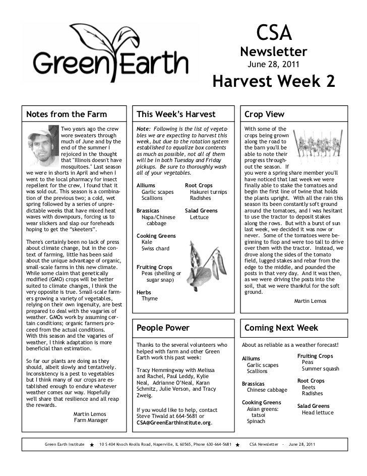 Green Earth Institute Newsletter