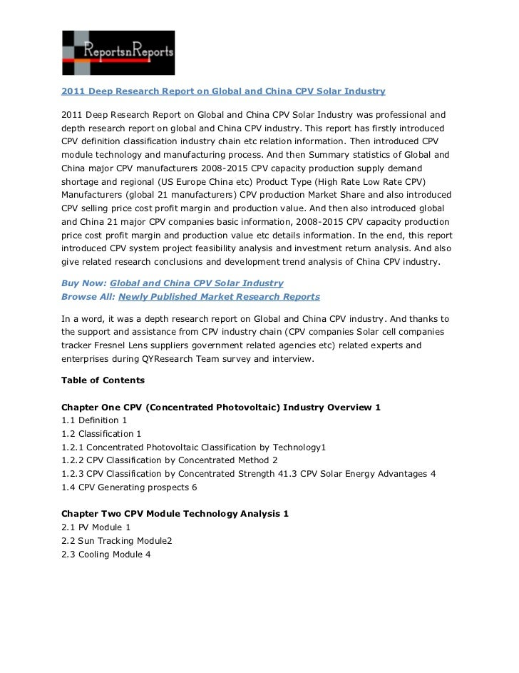 2011 Deep Research Report on Global and China CPV Solar Industry By ReportsnReports