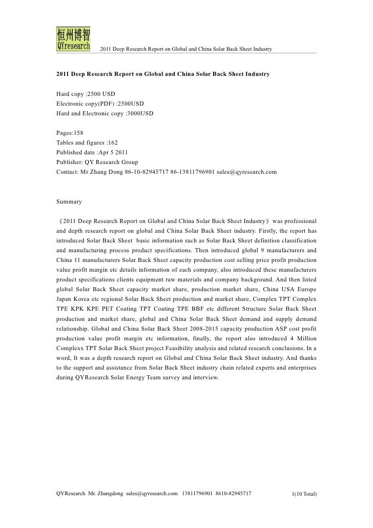 2011 Deep Research Report on Global and China Solar Back Sheet Industry2011 Deep Research Report on Global and China Solar...