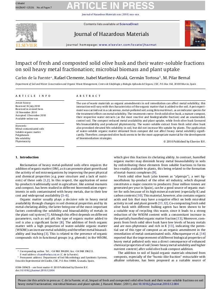 2011 de la fuente et al. water extract al heavy metal movility