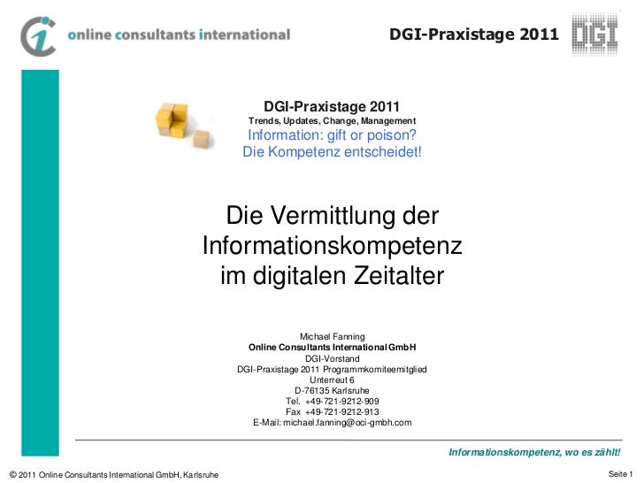 Die Vermittlung der Informationskompetenz