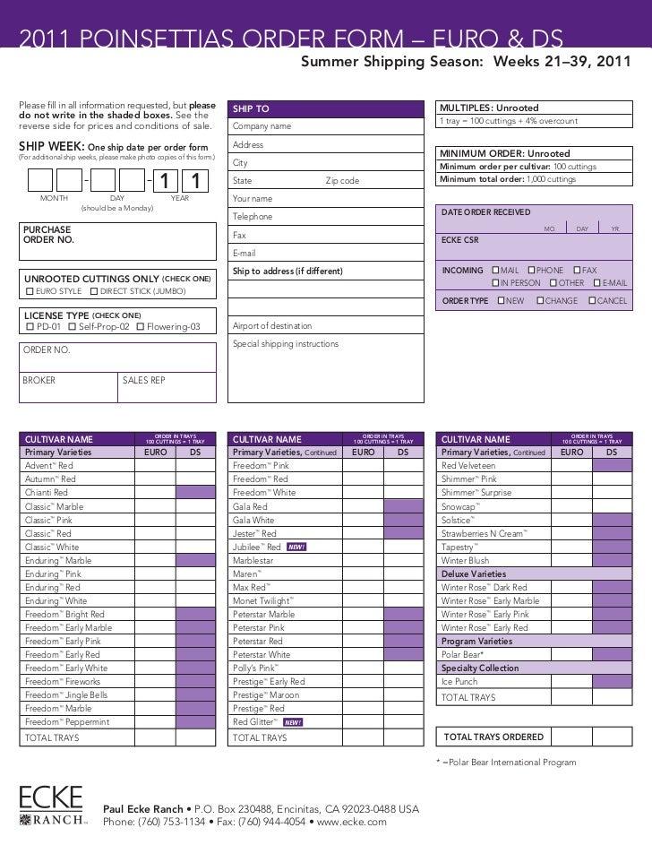 2011 POINSETTIAS ORDER FORM – EURO & DS                                                                                   ...