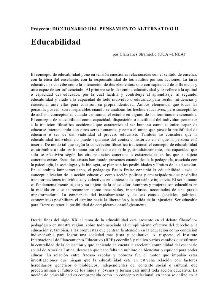 Proyecto: DICCIONARIO DEL PENSAMIENTO ALTERNATIVO IIEducabilidad                                                 por Clara...