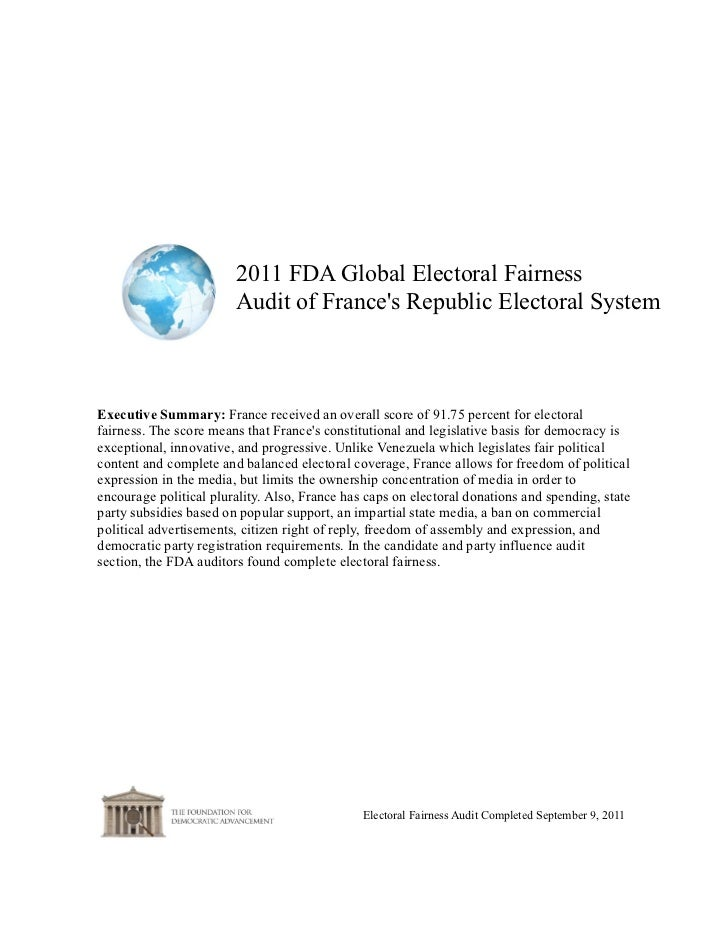 France--2011 FDA Global Electoral Fairness Audit Report