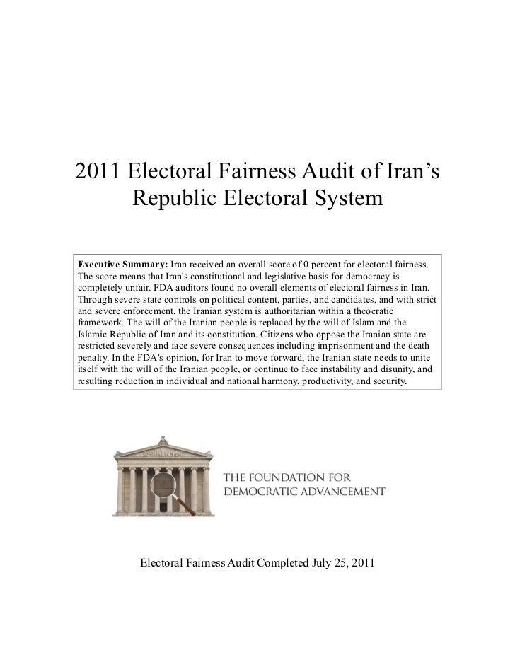 Iran--2011 FDA Global Electoral Fairness Audit Report