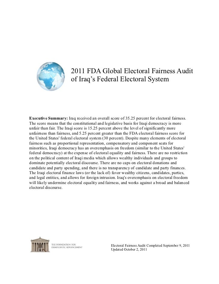 2011 FDA Global Electoral Fairness Audit                        of Iraq's Federal Electoral SystemExecutive Summary: Iraq ...