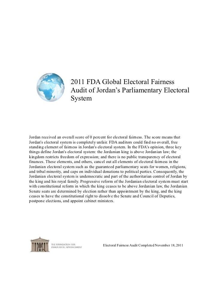 2011 FDA Global Electoral Fairness                        Audit of Jordan's Parliamentary Electoral                       ...