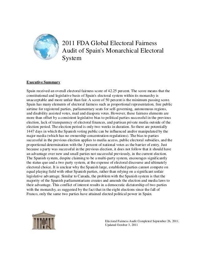 Spain--2011 FDA Global Electoral Fairness Audit Report
